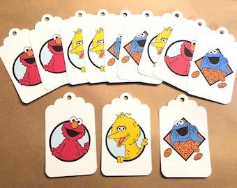 12 Sesame Street gift tags, Sesame Street party, Sesame Street birthday tags
