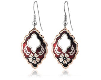 Wine red color handmade floral copper earrings