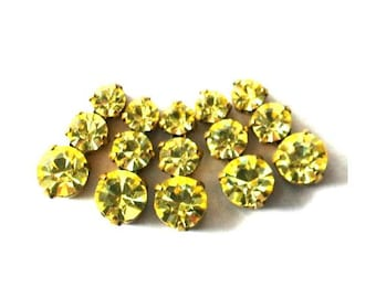 5 Vintage Swarovski yellow jewelry findings 3 rhinestone crystals in brass setting