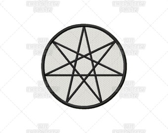 Septacle, Heptagram, Septagram, Wiccan, Pagan, Five Elements, Spiritual, Religious, Sacred Symbol, Machine Embroidery, Pattern, Design