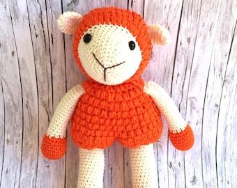 Handmade Lamb, Crochet Sheep, Orange White Sheep, Amigurumi Sheep, Amigurumi Lamb, Stuffed Sheep, Kids Toys, Baby Shower, Handmade Toys