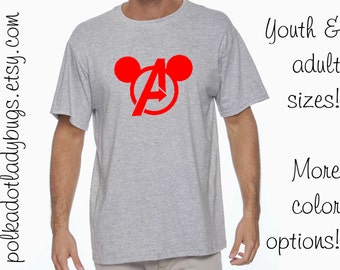 Avengers Symbol Mickey Mouse Head Disney Trip Shirt Infants Toddlers Youth Adult Sizes Available