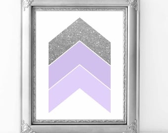 Chevron Arrows Lavender and Silver wall art print, Lavender and Silver nursery decor, Wall art printable, Abstract Wall Art, Digital File.