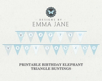 Printable Blue Elephant Birthday Triangle Bunting, Party Printables, Instant Download, Elephant Party Decorations, 1st 2nd 3rd 4th Birthday