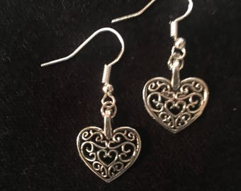 Silver color heart charm  earring