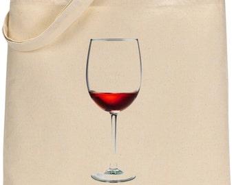 Wine Glass Natural Cotton Tote Bag Printed