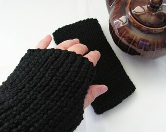 Black Texting Mitts Wool Mitts Fingerless Gloves Adult Size Hand Knitted Ready to Ship