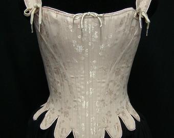 18th Century Marie Antoinette Corset Stays in brocade, cotton, satin coutils Historic Steel Boned Rococo Cosplay Venetian Masquerade Costume