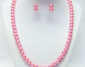 8mm Pink Rose Glass Pearl Necklace & Earrings Set