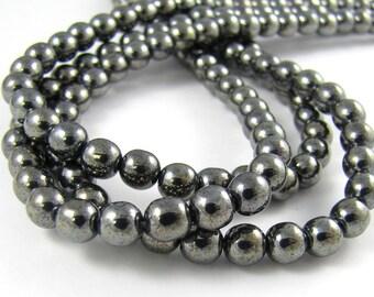 Hematite 6mm Smooth Round Czech Glass Beads 50pc #312
