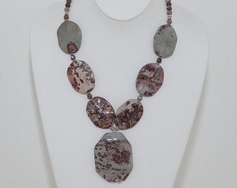 Red Flower Jasper and Sterling Statement Necklace