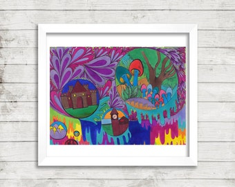 Fantasy Village Drawing, Psychedelic Trippy Art, Original Drawing