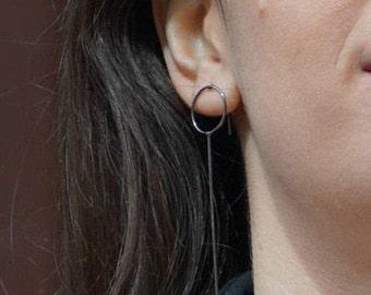 Black circle stud earrings, silver bar earrings, oxidized minimal earrings for women, minimal bar earrings, silver geometric earrings