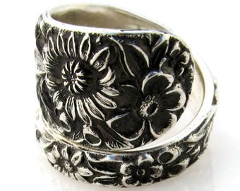 Spoon Ring Repousse Solid Sterling Silver Size 8-12 Kirk Stieff Large