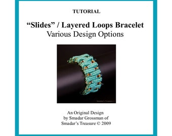 Beading Tutorial, Slides (Layered Loops) Bracelet. Instant Download PDF File Beadweaving Pattern with Seed and Drop Beads. Beadwork Bracelet