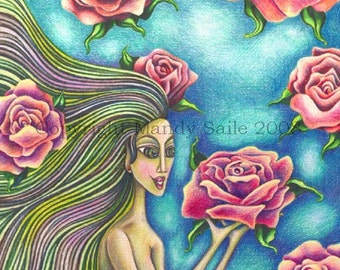 "My Love, My Love, My Love - an 8 x 10"" ART PRINT of a beautiful woman with green hair spreading love & romance through enchanted pink roses"