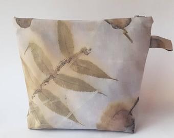 Eco Printed Zipper Pouch, Leaf Print Fabric, Natural Dye Cosmetic Bag