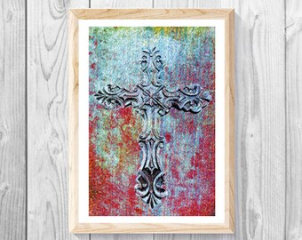 "Cross Art Print, Christian Wall Art, Religious Cross Print, Cross Collage Art, Religious Crucifix, Cross Of Jesus Print, Measures 11""x 17""."