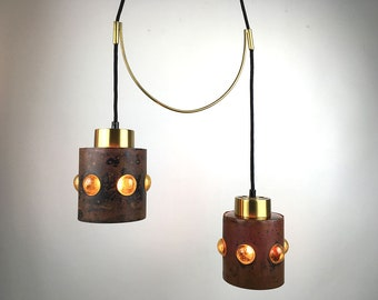 RARE Nanny Still McKinney Glass Hanging Pendant Light with brass suspension, for Raak, Mid Century Modern