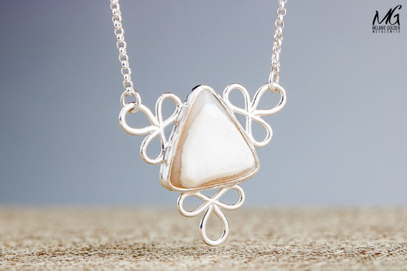 Snowflake Necklace - White Druzy Agate Gemstone Pendant in Sterling Silver