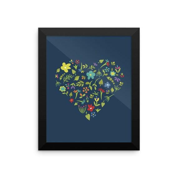 Floral Heart Framed Poster