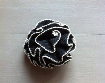 Black border brooch silver