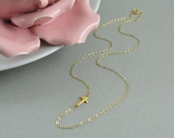 Tiny Gold Sideways Cross Necklace, Dainty Thin Chain, Asymmetrical Cross Necklace, Sideways Cross Necklace, Kelly Ripa Necklace