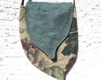 Elven Inspired Pixie Tapestry Cross Body Cell Phone Bag with Leaf Flap