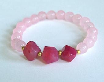 Pink Cotton Candy Bracelet, Beaded Bracelet, Stretch Bracelet, Stone Bead Bracelet, Patel Pink Bracelet, Yoga Bracelet