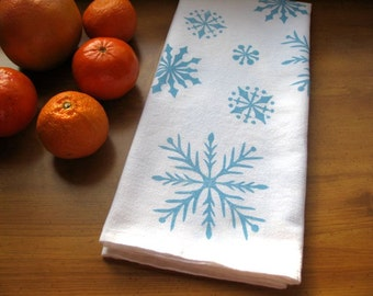 Snowflake Kitchen Bathroom Towel, block print, flour sack towel, red or ice blue (Made to Order)