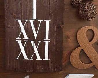 Custom Wood Sign Roman Numerals - Wooden Sign with Date - Rustic Decor