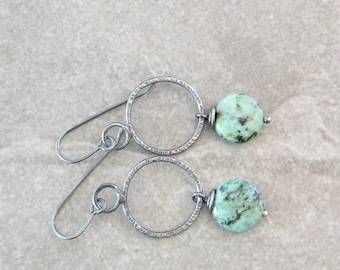 Green Stone and Silver Earrings, Oxidized Jewelry, Metalwork Earrings, African Turquoise and Silver Dangle Earrings