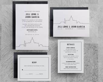 Washington DC Wedding Invitation, Skyline Invitations, City Invitations, New York, San Francisco, Seattle, City Skyline, Downtown, Buildings