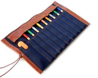 Affaire du rôle toile & cuir-crayon, bleu