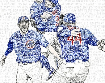"""2016 Chicago Cubs Word Art Print - Chicago Cubs World Series Art - FREE Shipping - 16""""x20"""" - Chicago Cubs Poster - Wrigley Field - Cubs Gift"""