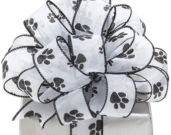 """NEW Paw Print 1-1/2"""" W Shimmering Sheer Wired Edge Ribbon Black & White"""
