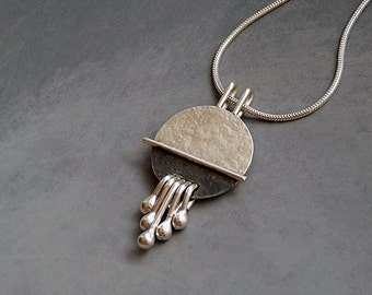Sterling silver pendant. Sterling silver necklace. Silver jewelry. Handcrafted