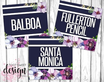 Piphany Style Cards, Clothing Name Cards, 5x5 Name Tags Online Shop Facebook Album Covers, Style Card Navy Purple Floral, INSTANT DOWNLOAD