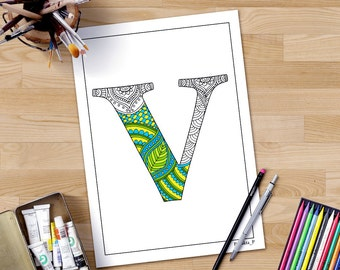 Intricate Alphabet Coloring Pages : Adult coloring pages zentangle alphabet w printable coloring
