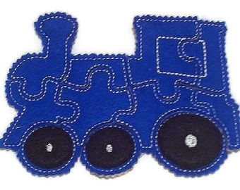 Blue train Felt Puzzle - puzzle game -  Perfect for party favors - school treats -  busy bags or quiet books  #P758