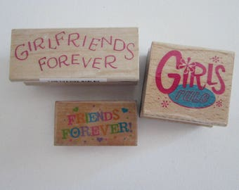 3 rubber stamps - GIRLS RULE, girlfriends forever, friends forever - used rubber stamps