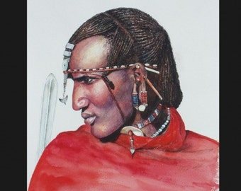 Massai Warrior, Art Cards with Envelope, hand signed