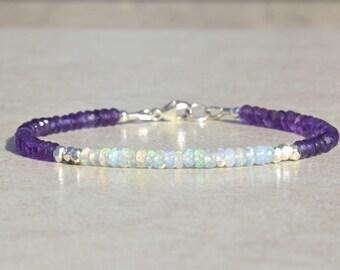 February Birthstone, Amethyst Gemstone  Bracelet, Opal Bracelet, October Birthstone Bracelet, Delicate Beaded Bracelet, Gift For Her