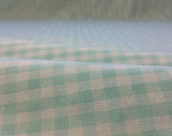 "MINI  CHECKERED GINGHAM 1/4 Inch Poly Cotton Printed Fabric - Mint- 57""/59"" Width Sold By The Yard"