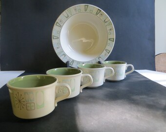 Mid Century Taylor Smith Taylor Cathay 9 inch Vegetable Serving Bowl 4 Flat Cups Mugs