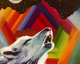 "A4 Print on glossy paper ""technicolour wolf in the moonlight"""