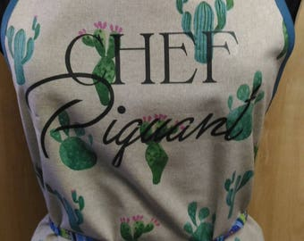 Cactus with text transfer printed apron