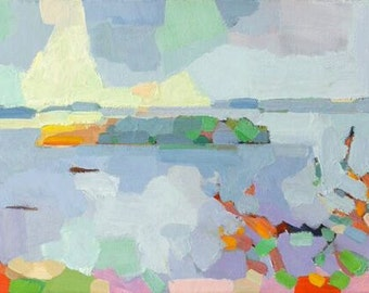 """Casco Bay Islands, Portland, Maine, limited edition of ten prints, print area 6 x 14"""", archival printing, signed and numbered"""