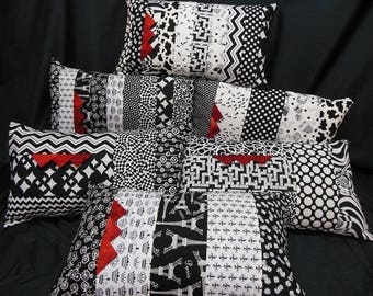 Set of 6 rectangular, black/white/red pillow covers, patchwork fashion