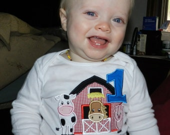 Barnyard Birthday Shirt / Personalized / Farm Party/ Pig / Cow / Horse / Barn